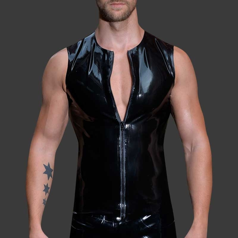MISTER B GUMMI TANK TOP Latex AERMELLOS ZIPP STEVE Fetisch MBL-301500 Club Wear black