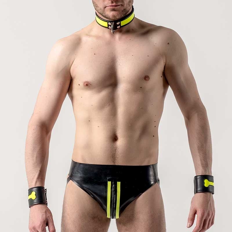 MISTER B GUMMI JOCK Latex NEON ZIPP FETISCH DREW Party MBL-310490 Club Wear black-neon yellow