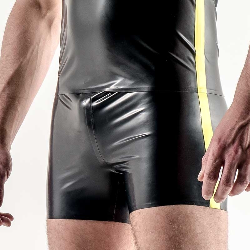 MISTER B GUMMI PANT Latex NEON STREIFEN SETH Fetisch MBL-311980 Club Wear black-neon yellow