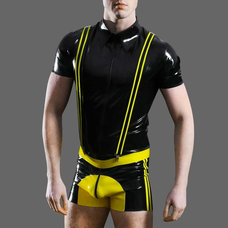 MISTER B RUBBER PANT Latex SADDLE ZIPP ADAM Fetish MBL-313720 Club Wear yellow-black