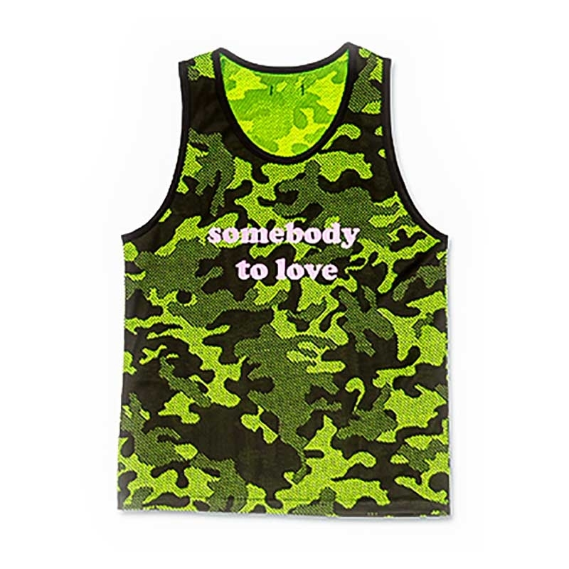 BARCODE Berlin TANK TOP regular SOMEONE TO LOVE Neon Camouflage 91403 Mainstream neon green-black
