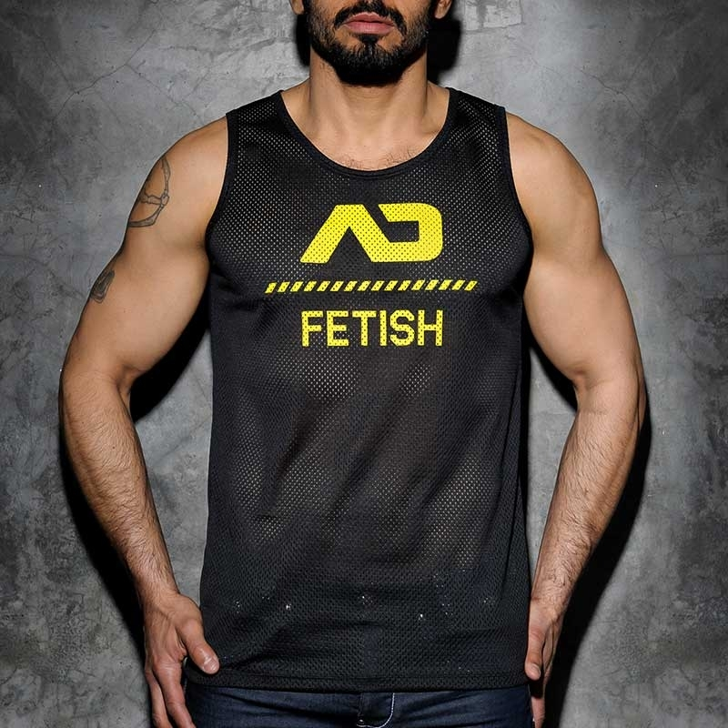 ADDICTED TANK TOP hot FETISCH NETZ BRAD Sommer ADF54 Club Wear black-yellow