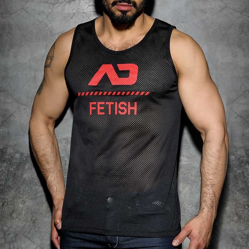 ADDICTED TANK TOP hot FETISCH NETZ BRAD Sommer ADF54 Club Wear black-red