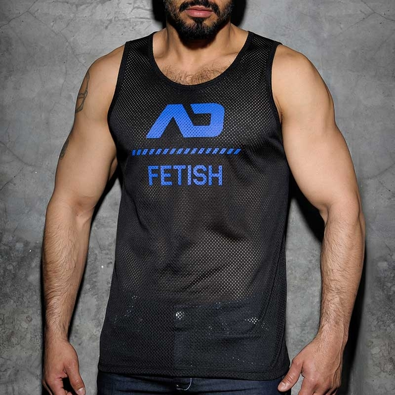 ADDICTED TANK TOP hot FETISCH NETZ BRAD Sommer ADF54 Club Wear black-royal