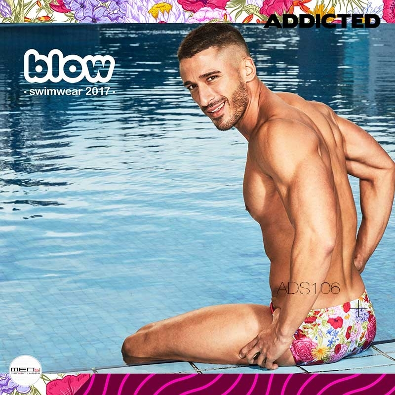 ADDICTED SWIM BRIEF ADS106 digital flowers