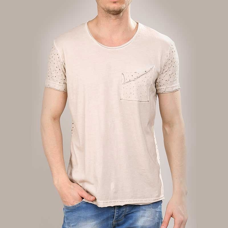 RED BRIDGE T-SHIRT modern DESIGNER USED JARED Löcher M1130 Mainstream beige