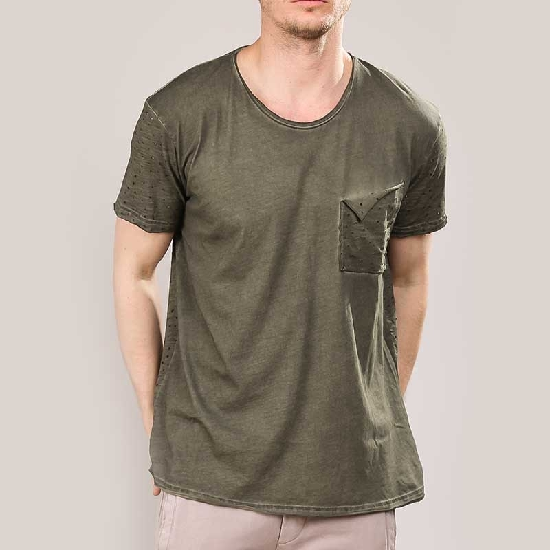 RED BRIDGE T-SHIRT modern DESIGNER USED JARED Löcher M1130 Mainstream khaki