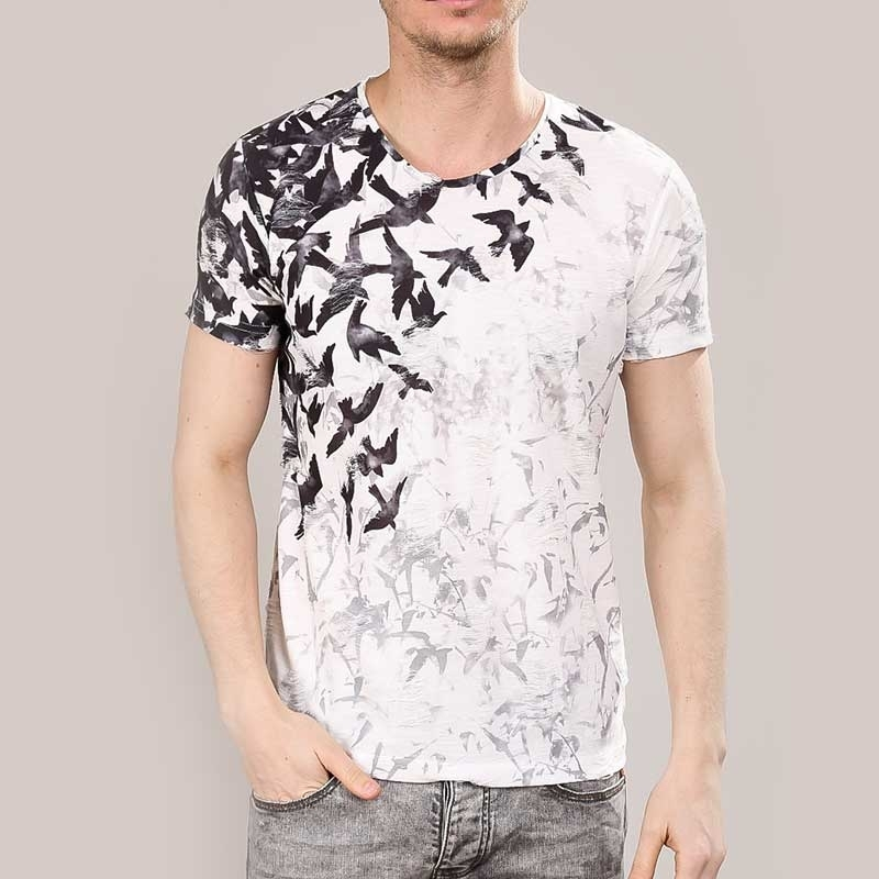 RED BRIDGE T-SHIRT regular VOGEL PRINT SCOTT Alltag M1133 Mainstream white