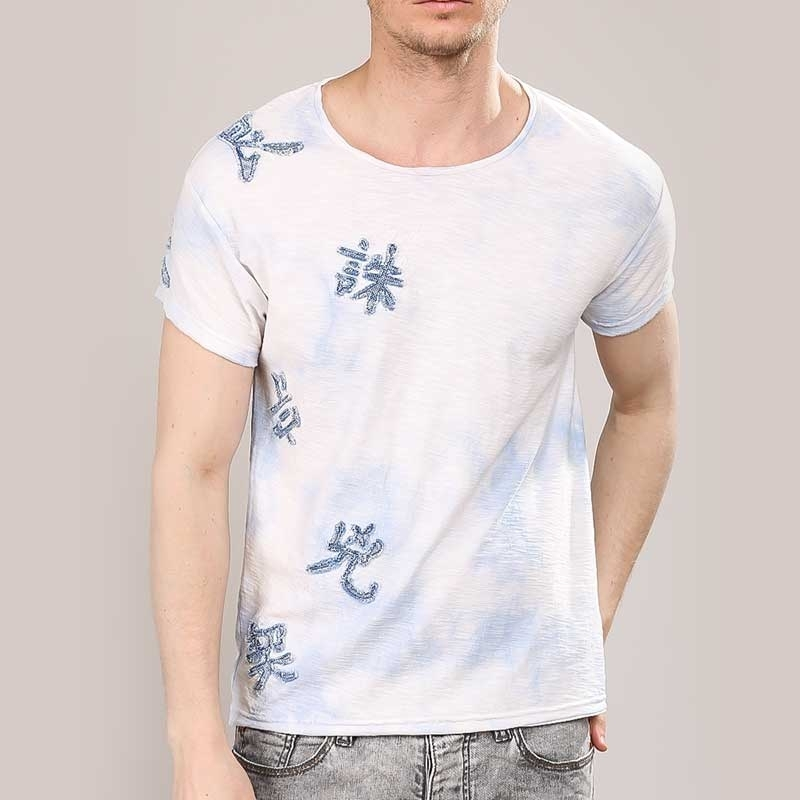RED BRIDGE T-SHIRT regular DESIGNER TRAVIS Chinesischer Zeichen M1131 Mainstream white