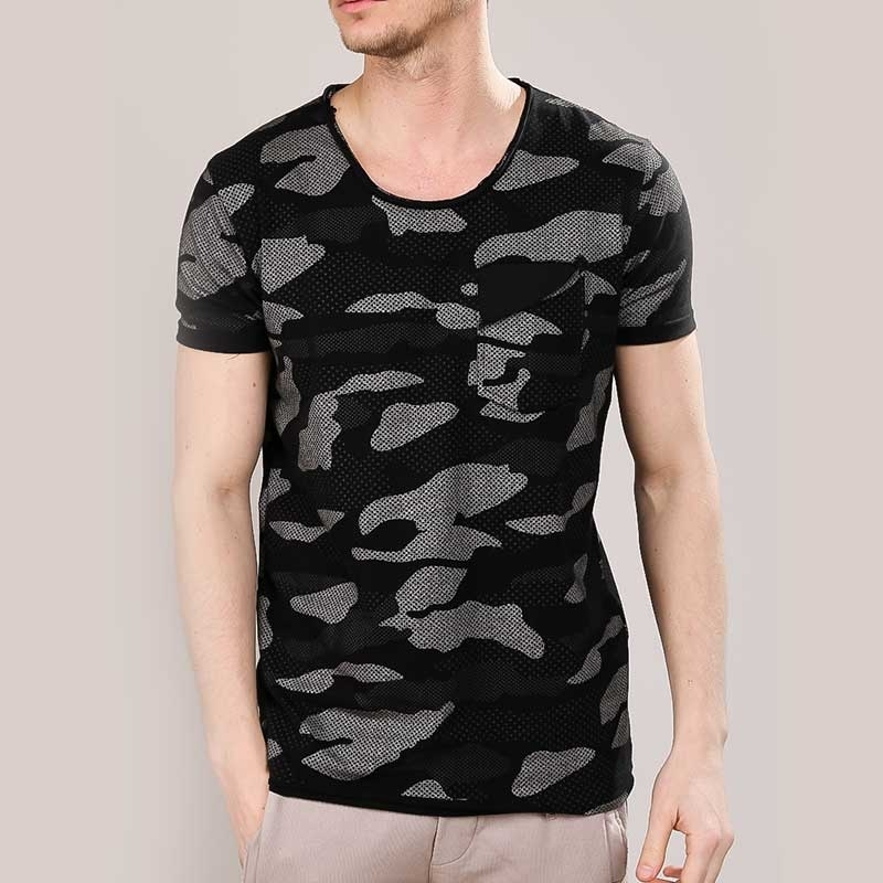 RED BRIDGE T-SHIRT comfort NETZ CAMOUFLAGE HARPER Tasche M1139 Mainstream black