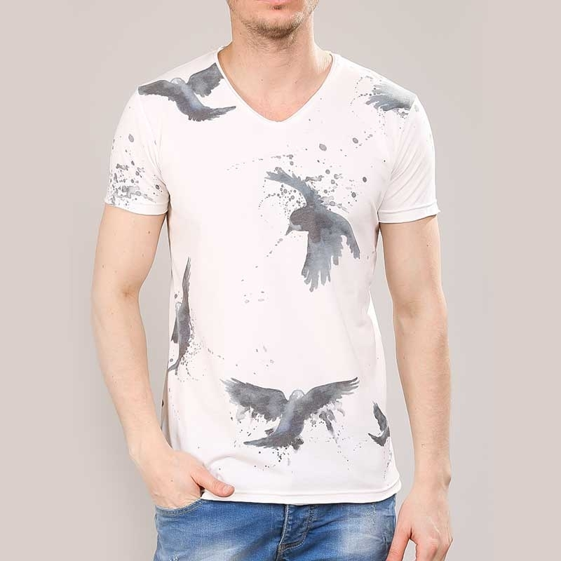 RED BRIDGE T-SHIRT regular VOGEL DRUCK HOWIE Kunst M1175 Mainstream white