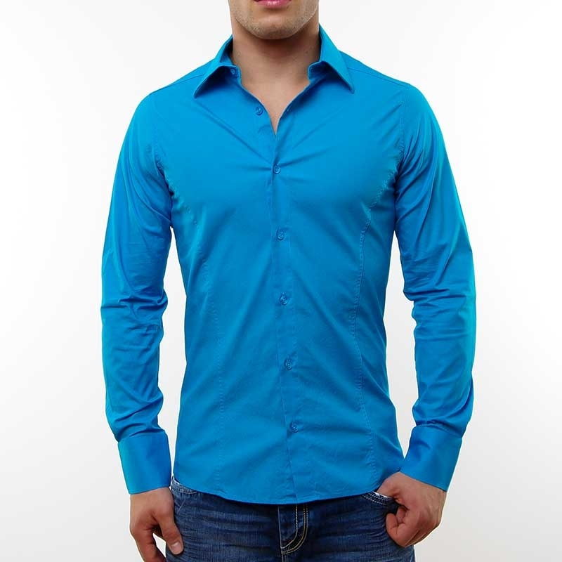 RED BRIDGE HEMD slim fit LOGAN tailliert R-2111 langarm bodystyle lightblue