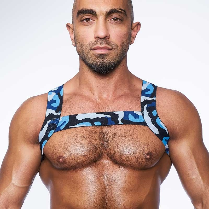 MISTER B HARNESS hot CAMOUFLAGE X-BACK Urban MBS-820541 Fetisch Wear blue