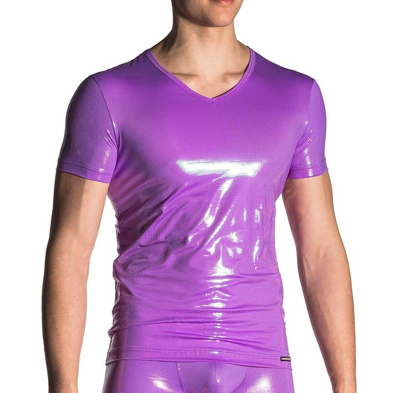 MANSTORE T-SHIRT hot V-NECK GABRIEL Discokugel Muster M710 Club Wear purple