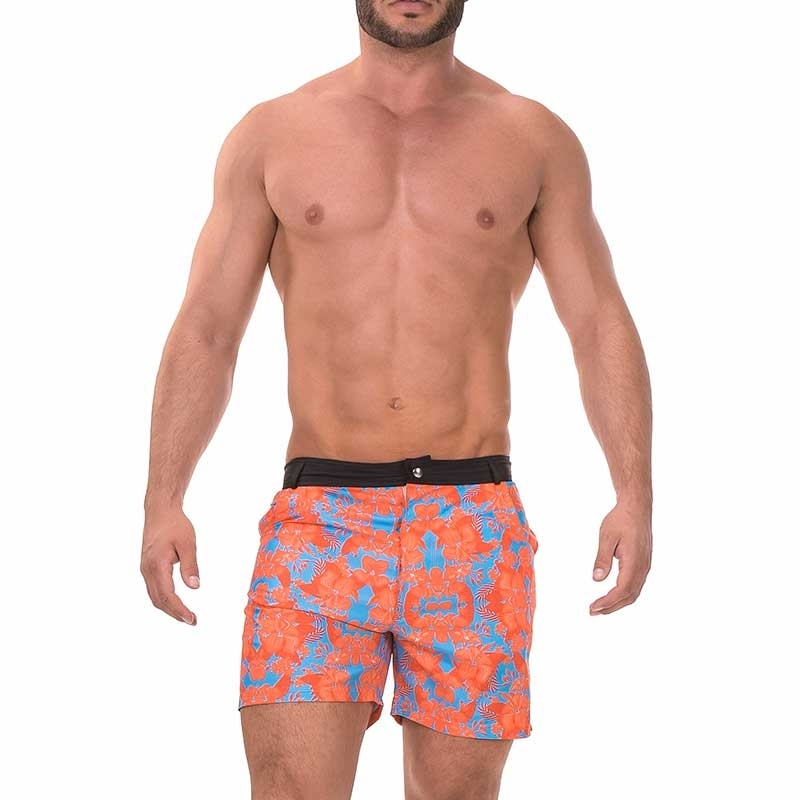 BARCODE Berlin BADEHOSEN modern SHORT 013 Blumen Muster 91378 Strand Wear orange-blue