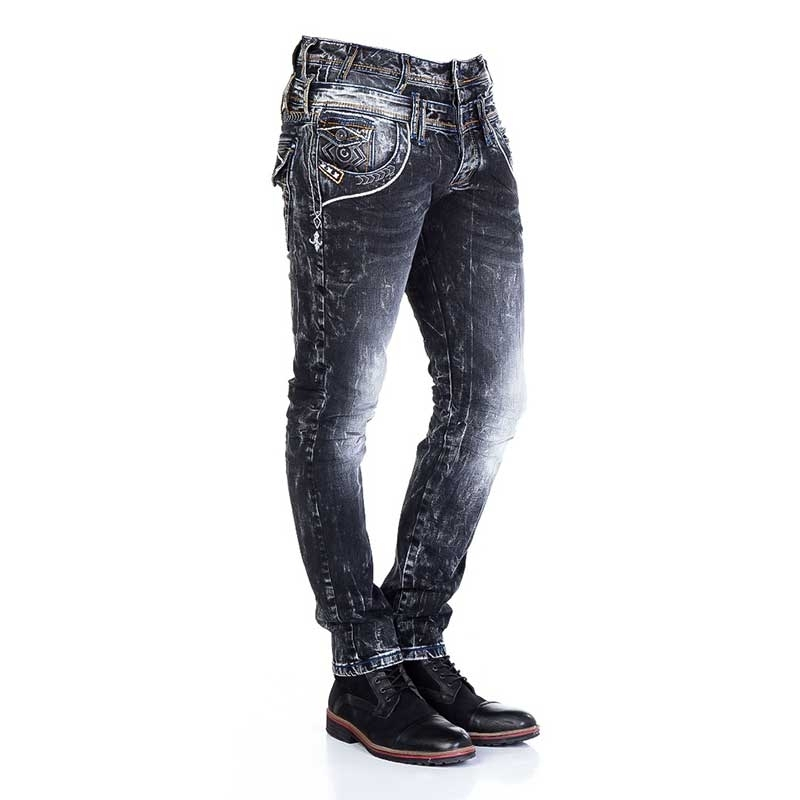 CIPO and BAXX JEANSHOSE CD308 gemusterter Denim