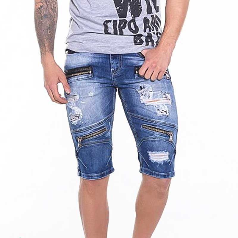 CIPO and BAXX CAPRI- JEANS slim fit ZIPP TRIGG Gelocht CK142 Street Wear bluejeans