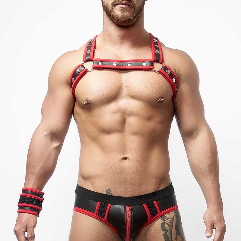 MISTER B HARNESS hot NEOPREN SINCLAIR Fetisch MBN-340730 Club Wear black-red