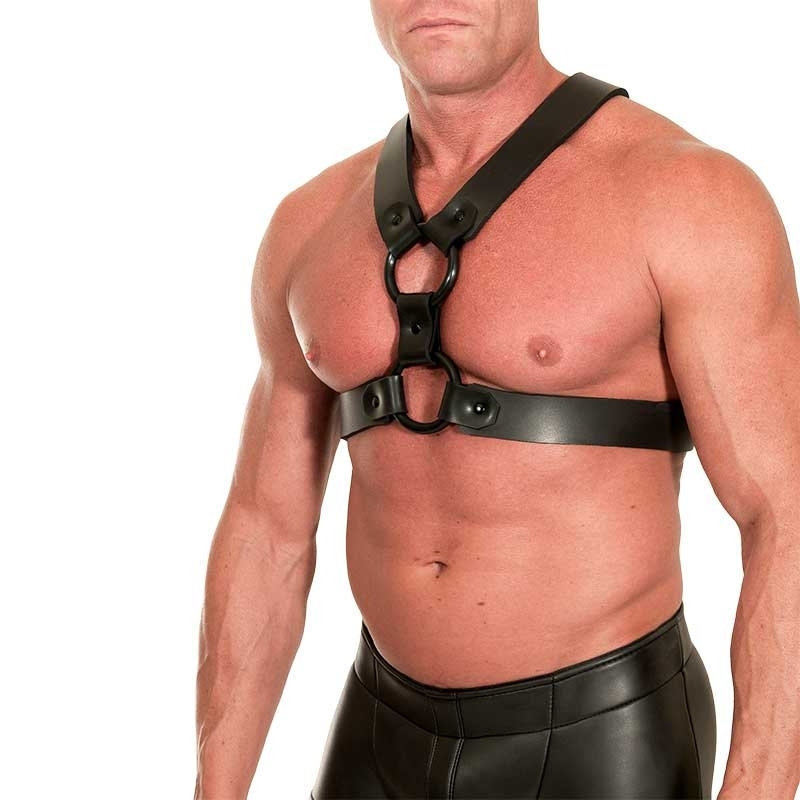MISTER B NEOPREN HARNESS hot NEO-SKIN 665 Leather MBN-346700 Club Wear black