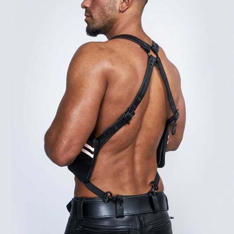 MISTER B HARNESS hot LEATHER WALLET SCOTT Braces MBL-601305 Club Wear black-white