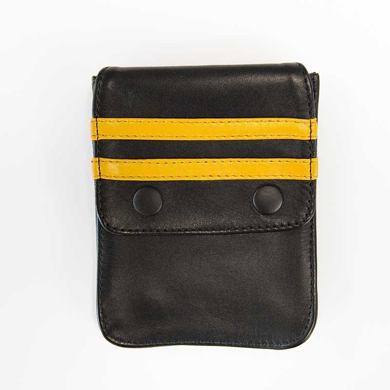 MISTER B ACCESSORIES hot LEATHER WALLET NORTON Pocket MBL-601313 Club Wear black-yellow