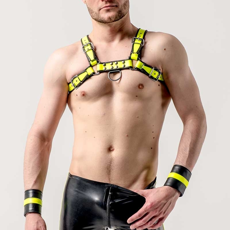 MISTER B HARNESS hot NEON LANCE Leather MBL-600560 Club Wear yellow-black