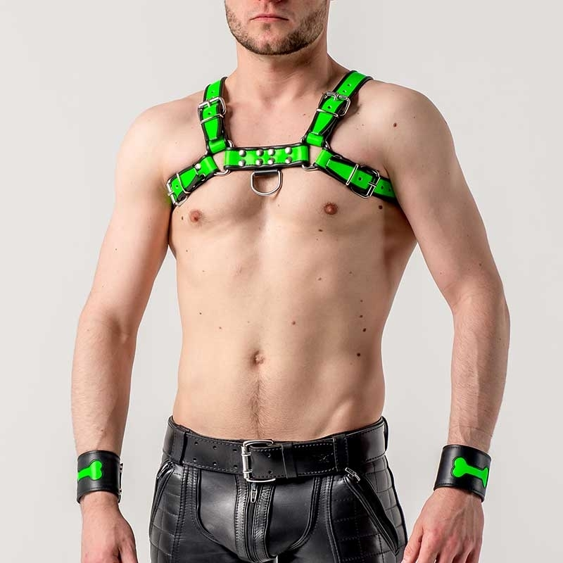 MISTER B HARNESS hot NEON LANCE Leather MBL-600580 Club Wear green-black