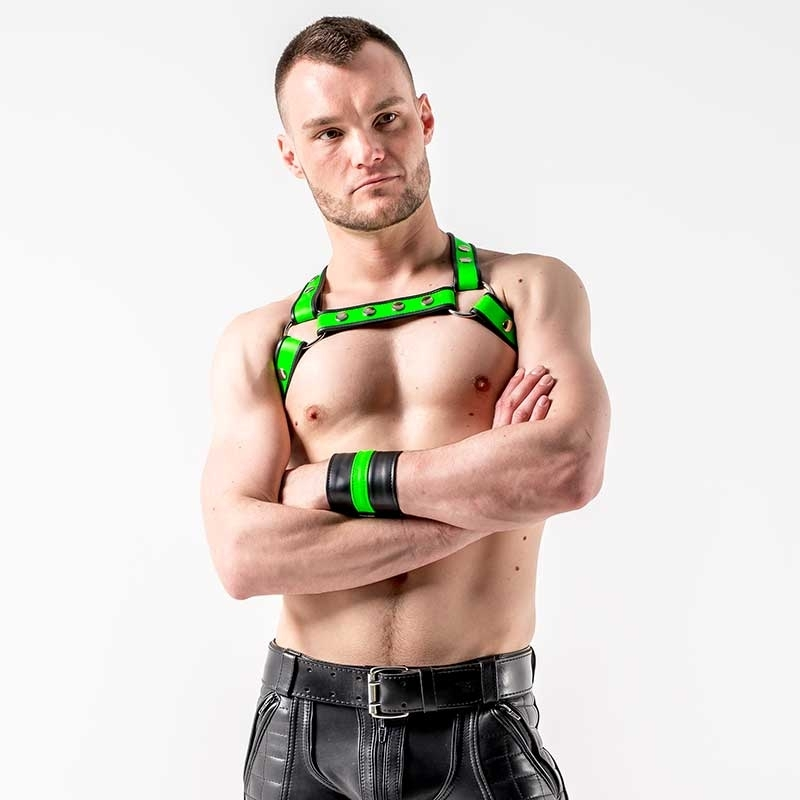 MISTER B LEATHER HARNESS hot NEON LUKAS Premium MBL-601770 Club Wear green-black