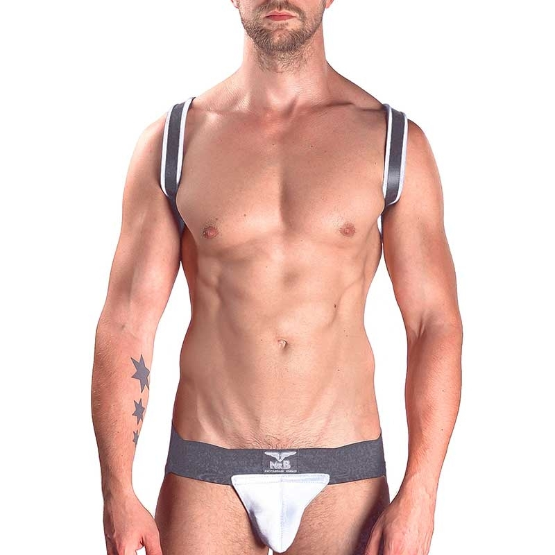 MISTER B LEDER HARNESS hot SCHULTER SLING LON Premium MBL-600340 Club Wear black-white