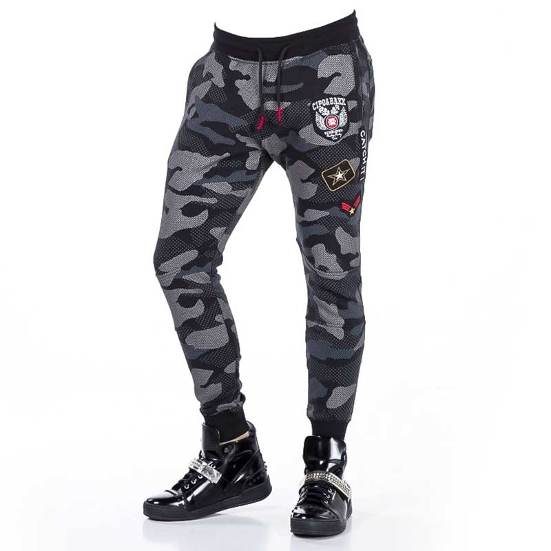 CIPO and BAXX SWEATHOSE modern NETZ CAMOUFLAGE PAYTON Sportlich CR108 Casual Wear black