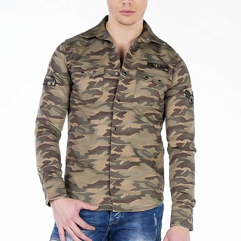 CIPO and BAXX DRESS SHIRT regular CAMOUFLAGE PAXTON Army CH130 Mainstream brown