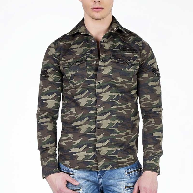 CIPO and BAXX HEMD regular CAMOUFLAGE PAXTON Army CH130 Mainstream khaki