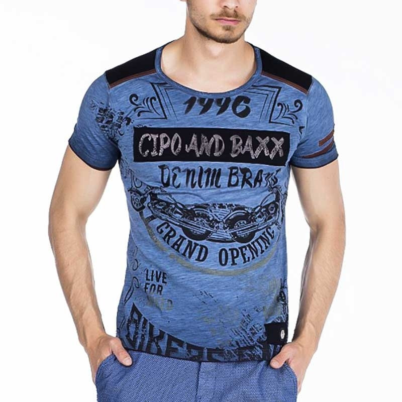 CIPO and BAXX T-SHIRT regular VINTAGE VADIM Denim CT296 Streetwear indigo