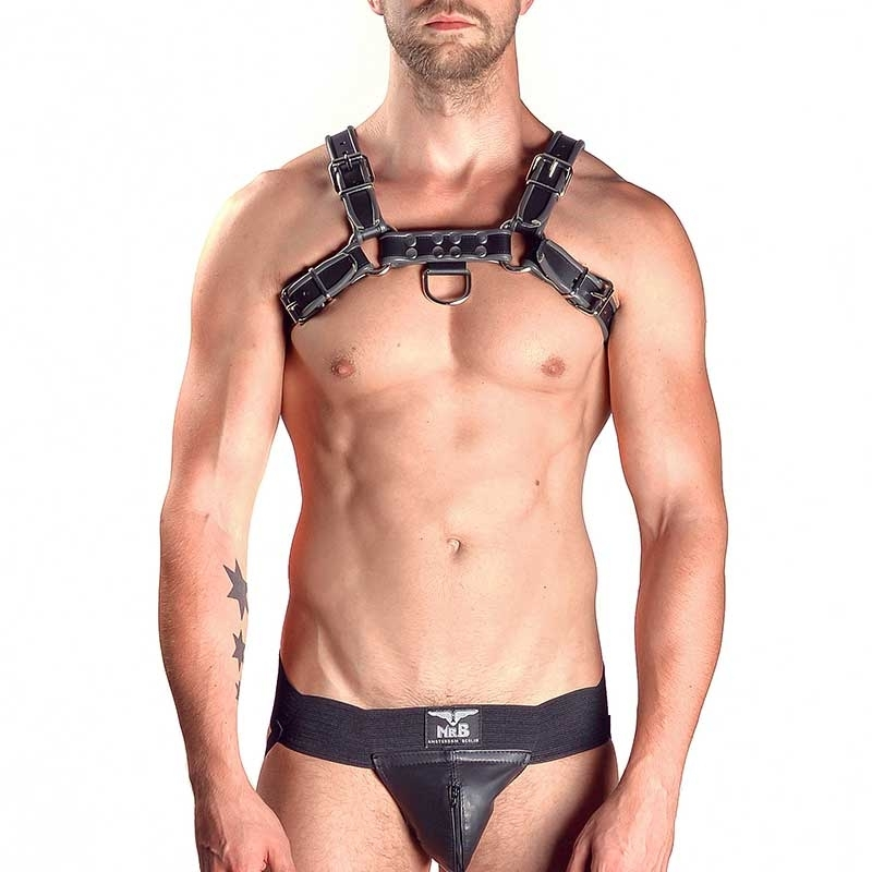 MISTER B LEDER HARNESS hot BULLDOG LAZLO Hanky Code MBL-600570 Club Wear black-grey