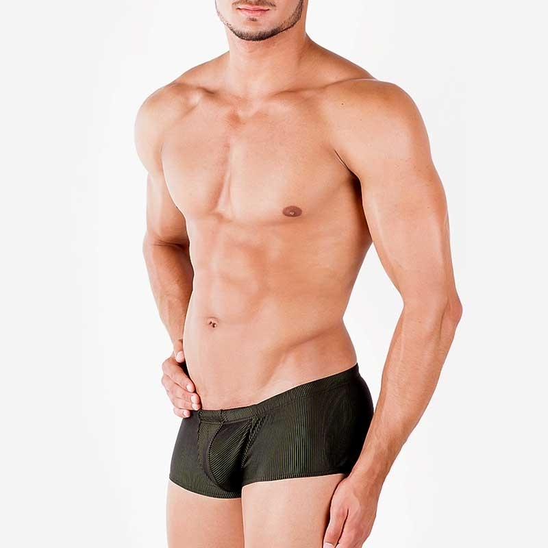 WAGNER Berlin SWIM PANTS hot ALONSO Ribbed WAB-125453 Beach Wear black-green