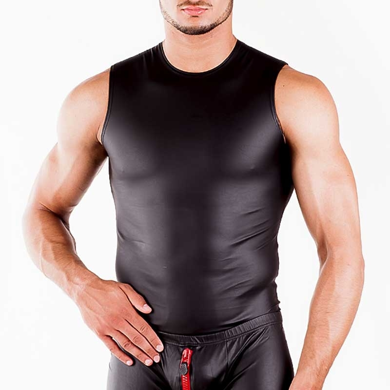 WAGNER Berlin 172255 TANK TOP Sportlich hot Fit WET-LOOK black