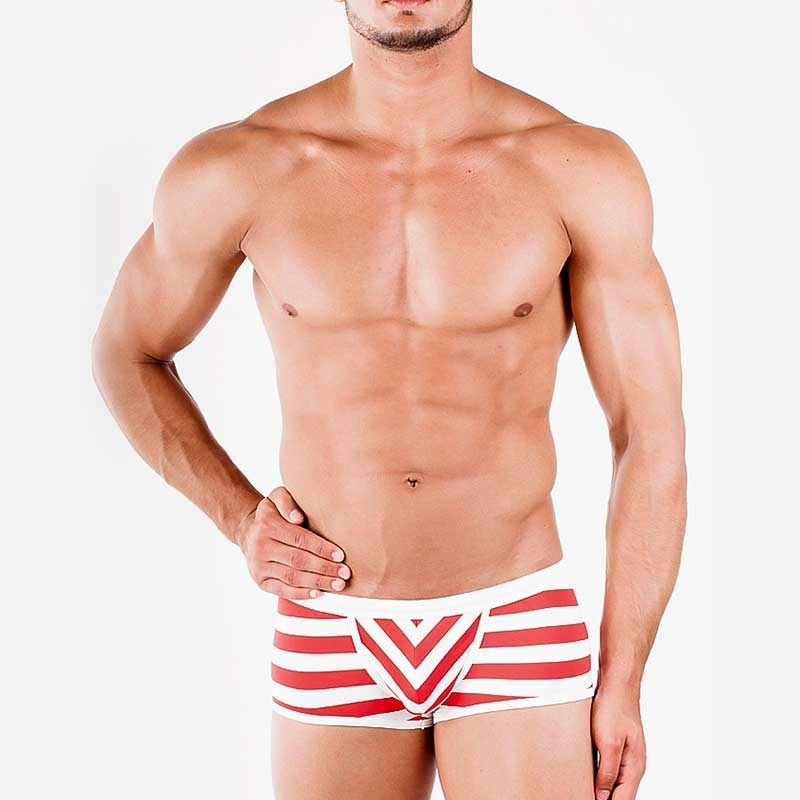 WAGNER Berlin 181461 BADEPANTS Gestreift regular Fit Action Swim Unterhosen white-red