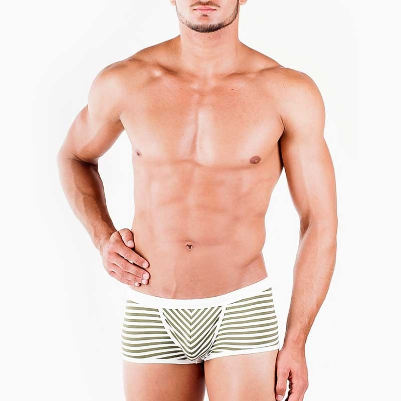 WAGNER Berlin 181463 BADEPANTS Gestreift regular ACTION Swim Unterhosen Mainstream white-olive