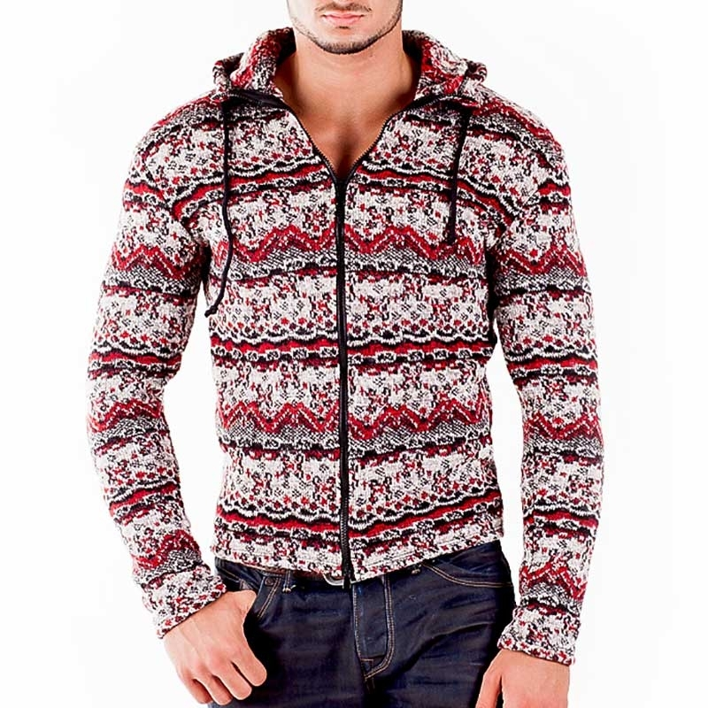 WAGNER Berlin 184017 STRICKJACKE WINTER comfort Kapuze Zipp Mainstream red-grey