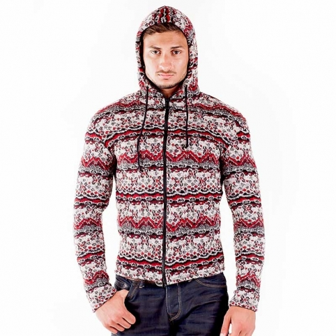 WAGNER Berlin 184017 CARDIGAN WINTER comfort Hood Zipp Mainstream red-grey