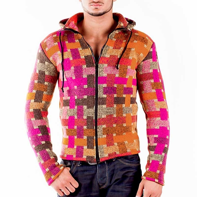 WAGNER Berlin 184045 CARDIGAN RETRO comfort checkered Hood Mainstream orange-pink