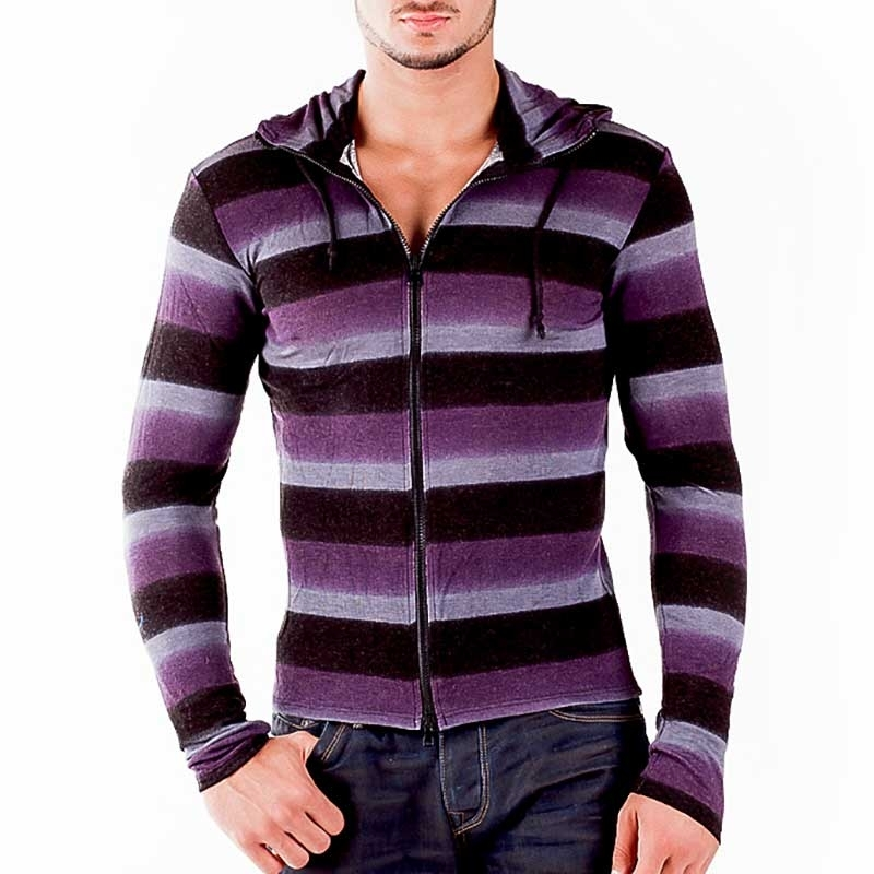 WAGNER Berlin 184058 STRICKJACKE Gestreift slim Sommer PULLOVER Stil Streetwear black-purple