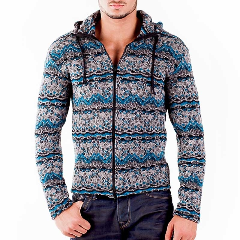 WAGNER Berlin 184087 STRICKJACKE WINTER comfort Kapuze Zipp Mainstream grey-turquoise