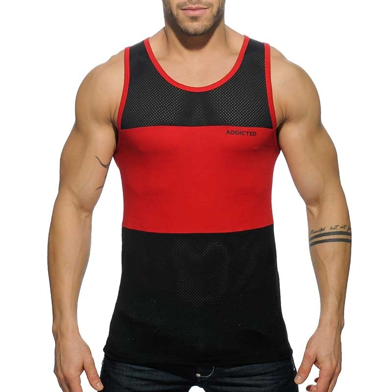 ADDICTED TANK TOP mesh AD432 hybrid line in red