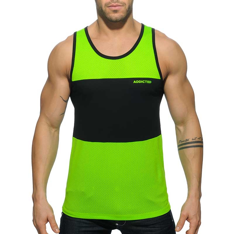 e0a778ffdea4d0 ADDICTED athletic mesh Hybrid Workout Men s TankTop in neon green a ...