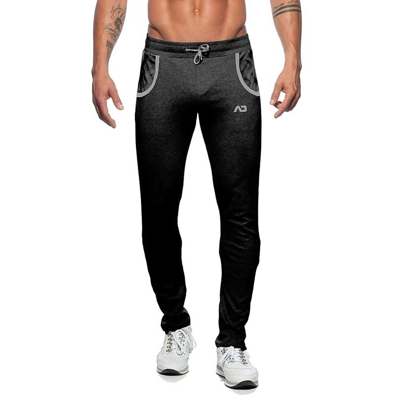 ADDICTED SPORT PANT AD614 with geometry art in black