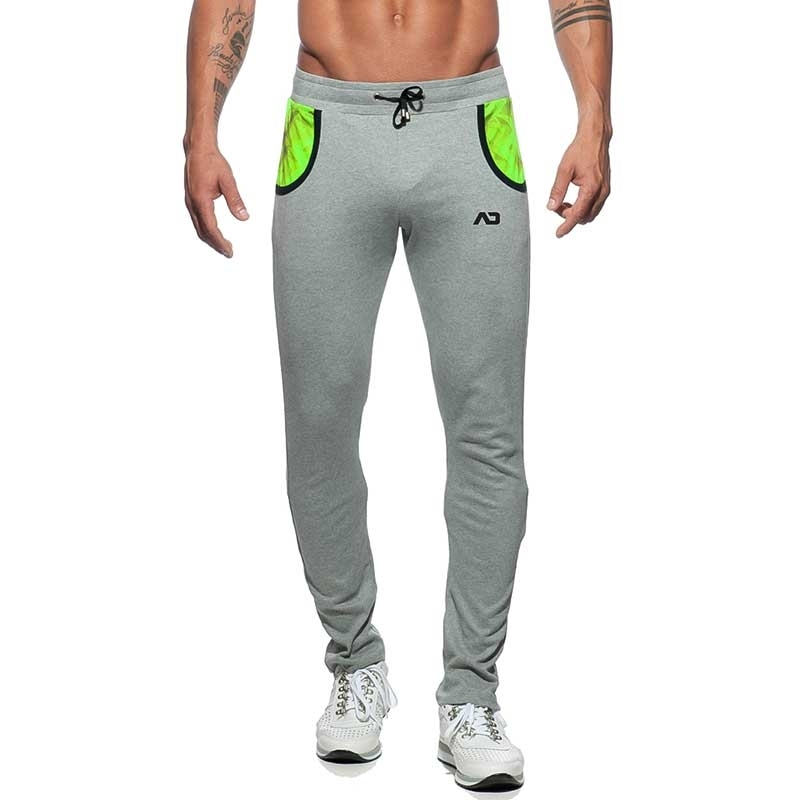 ADDICTED SPORT PANT AD614 with neon geometry art in grey