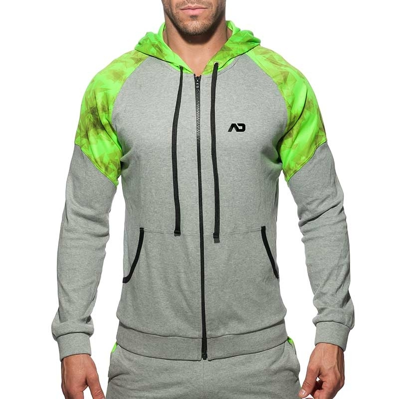 ADDICTED SPORTJACKE AD615 mit neon Geometrie Art in grey