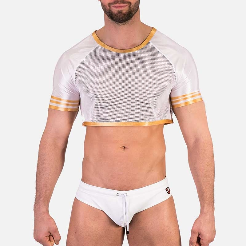 BARCODE Berlin T-SHIRT hot Mesh ARIAN W91285 Gold Paspelierung American Football
