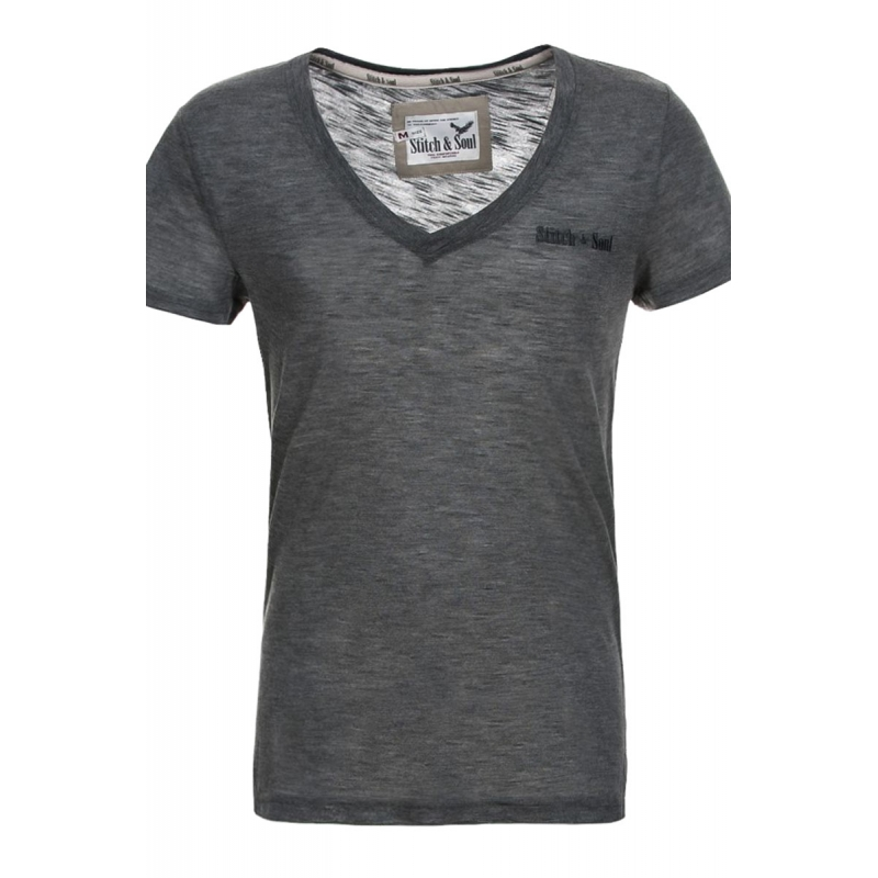 STITCH & SOUL T-Shirt loungeclub grau